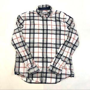 Express White Gray Plaid Button Down Shirt XL